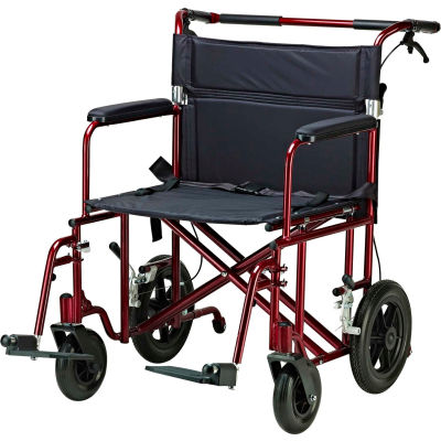 """Bariatric Aluminum Transport Chair, Red Frame, 22"""" Seat Width, 450 lb. Capacity"""