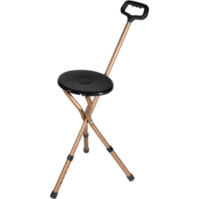 Drive Medical RTL10365-ADJ Folding Lightweight Cane Seat, Adjustable Height, Bronze with Black