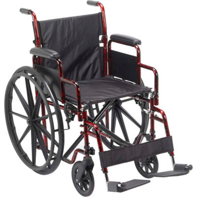 """Rebel Wheelchair with Removable Desk Arms, Swing-away Footrests, 18"""" Seat, Red Frame"""