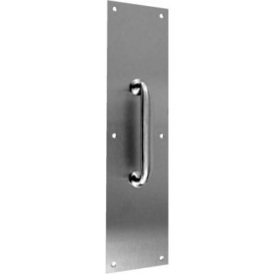 """Don Jo 7110-605 Pull Plate W/Cast Pull, 4""""x16""""Plate Size, 1-5/16""""Clearance, Polish Brass"""