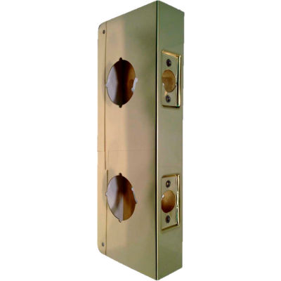 """Don Jo 946-CW-PB Wrap Around For Dbl Lock Combo Locksets W/6""""Centers, 4-1/4""""x9"""", Polish Brass"""