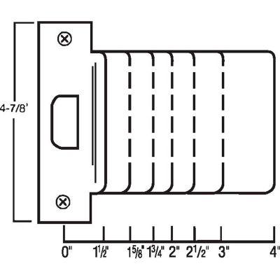 """Don Jo EST 115-630 Extended Lip, ANSI Strike, 4-7/8""""x1-1/2"""", Stainless Steel - Pkg Qty 10"""
