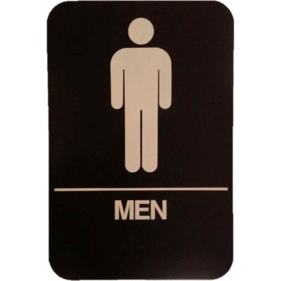 "Don Jo HS 9060 02 - Men's Room ADA Sign, 6"" x 9"", Brown With Raised White Lettering - Pkg Qty 10"