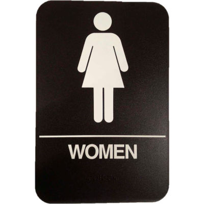 """Don Jo HS 9060 04 - Women's Room ADA Sign, 6"""" x 9"""", Brown With Raised White Lettering - Pkg Qty 10"""