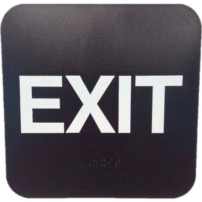 """Don Jo HS 9060 35 - Exit ADA Sign, 6"""" x 9"""", Brown With Raised White Lettering - Pkg Qty 10"""