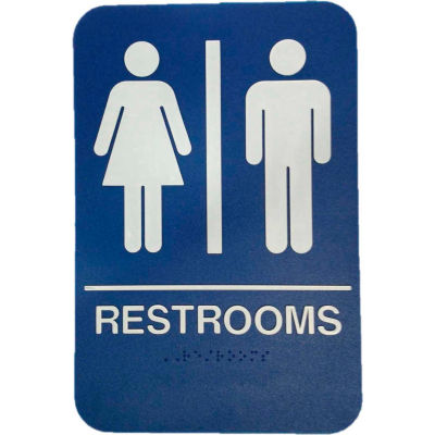 "Don Jo HS 9070 03 - Restrooms ADA Sign, 6"" x 9"", Blue With Raised White Lettering - Pkg Qty 10"