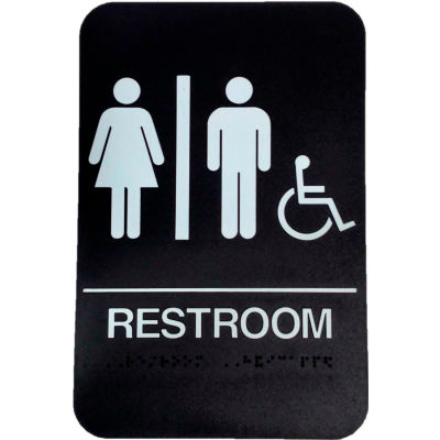 """Don Jo HS 9090 32 - Women's/Men's/Handicap ADA Sign, 6"""" x 9"""", Black With Raised White Lettering - Pkg Qty 10"""