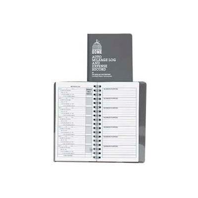 "Dome® Auto Mileage Log and Expense Record, 3-1/2"" x 6-5/8"", Gray Cover"