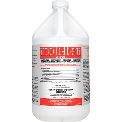 Mediclean California X-590 Disinfectant, Insecticide, Deodorant 221572000 - 1 Gallon - Case of 4