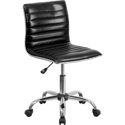 Flash Furniture Designer Ribbed Vinyl Armless Task Chair - Low Back - Black