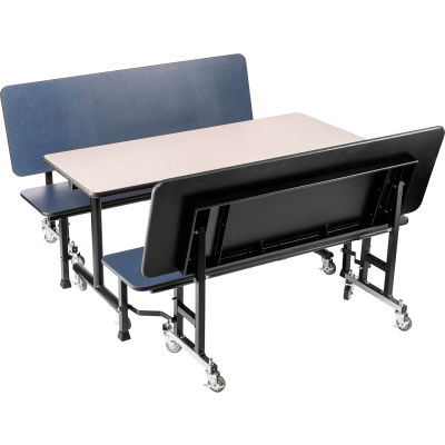 "NPS® ToGo Booth Set - MDF Core, Includes (1) 60""x24"" Gray Table and (2) 60"" Navy Benches"