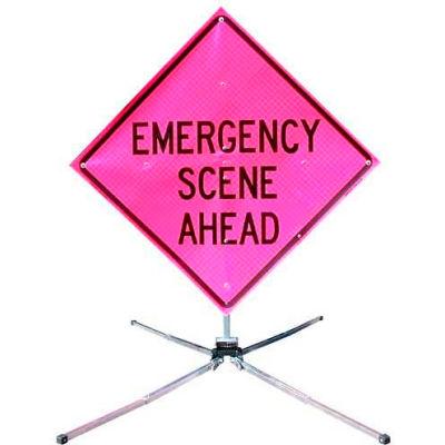 """Dicke Safety Fold & Roll 36"""" Sign System, EMERGENCY SCENE AHEAD, DF3000X36PNK ESA"""