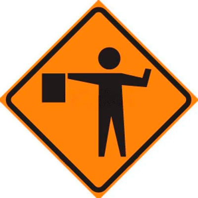 """Dicke Safety Reflective Roll-Up Sign, 48"""" x 48"""", FLAGGER SYMBOL, RUR48-200 FS"""