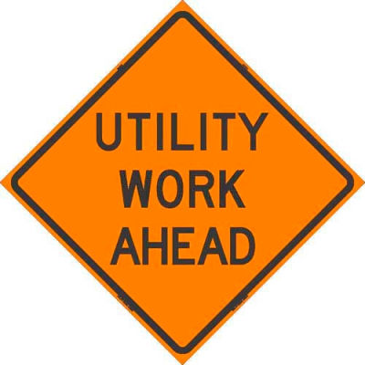 """Dicke Safety Reflective Roll-Up Sign, 48"""" x 48"""", UTILITY WORK AHEAD, 48-200 UWA"""
