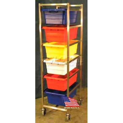 """DC Tech Six Tote Cart DL101046, Knock Down, Stainless Steel,25-1/2""""L x 18-3/8""""W x 70""""H, No Totes"""