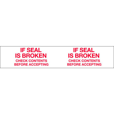"""Printed Tape """"If Seal Is Broken Check Contents Before Accepting"""" 2""""W x 110 Yds. 1.84 Mil White/Red - Pkg Qty 36"""