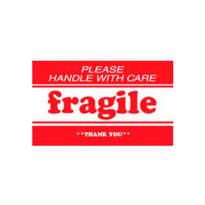 """Fragile Please Handle With Care Thank You 2"""" x 3"""" - White / Red"""