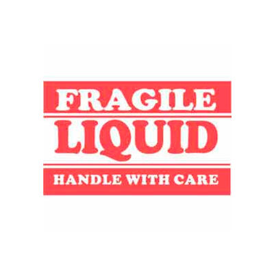 "Fragile Liquid Handle With Care 2"" x 3"" - White / Red"