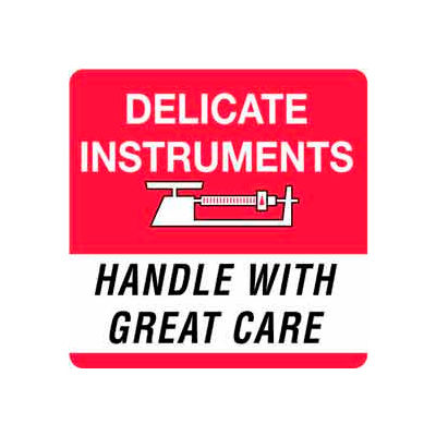 "Delicate Instrument Handle With Care 4"" x 4"" - White / Red / Black"