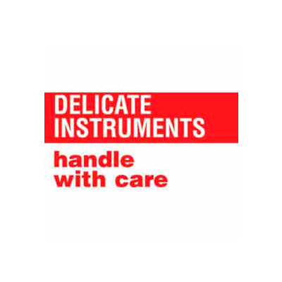"""Delicate Instruments Handle With Care 3"""" x 5"""" - White / Red"""