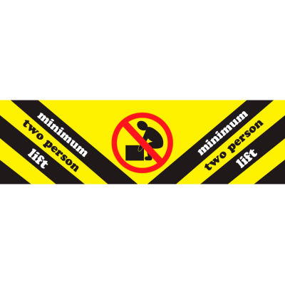 """Minimum Two Persons Lift Adhesive Sign, 2""""W x 8""""L, Yellow/Black/Red/White"""