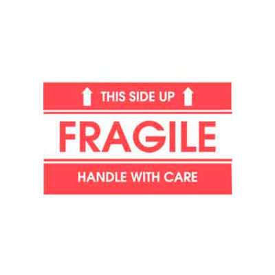 """Fragile This Side Up 2"""" x 3"""" - White / Red"""
