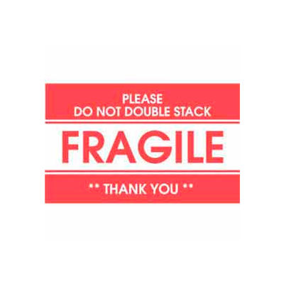 "Fragile Please Do not Double Stack 2"" x 3"" - White / Red"