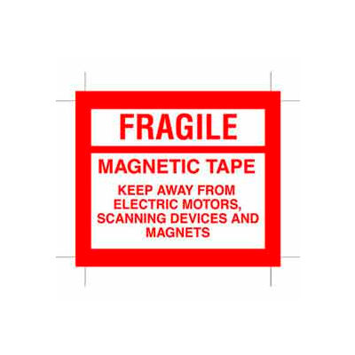 """Fragile Magnetic Tape 4"""" x 4-3/4"""" - White / Red"""