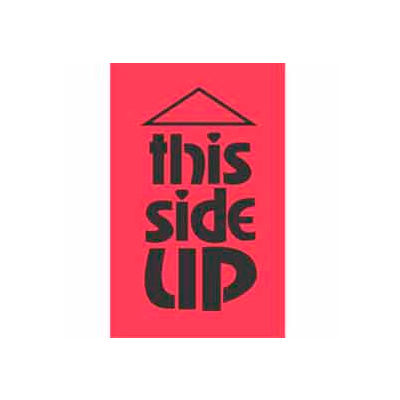 """This Side Up 3"""" x 5"""" - Fluorescent Red / Black"""