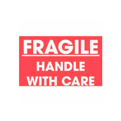 """Fragile Handle With Care 3"""" x 5"""" - Red / White Text"""