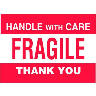 """Fragile 3"""" x 5"""" - White / Red"""