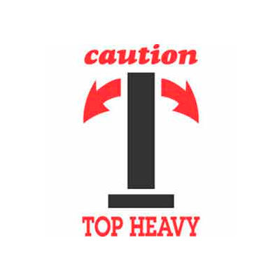 """Caution Top Heavy 4"""" x 6"""" - White / Red / Black"""