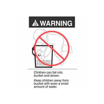 "Warning (Bucket Label) 2-7/8"" x 5"" - White / Black / Red"
