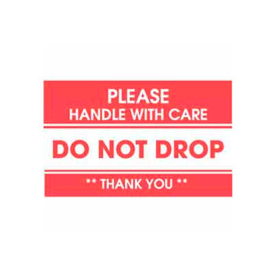"""Don't Drop Handle With Care 3"""" x 5"""" - White / Red"""