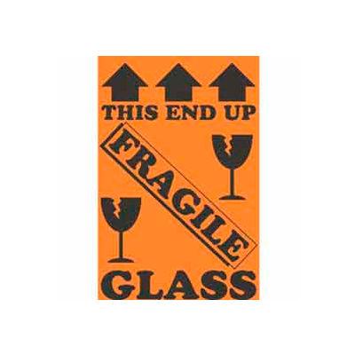 "This End Up Fragile Glass 4"" x 6"" - Fluorescent Orange / Black"