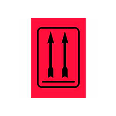 """2 Arrows Up Label 4"""" x 6"""" - Fluorescent Red / Black"""