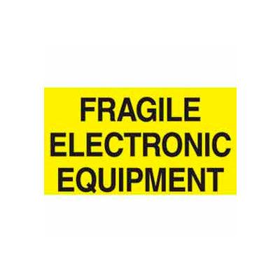 "Fragile Electric Equipment 3"" x 5"" C - Bright Yellow / Black"