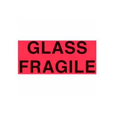 "Glass Fragile 3"" x 5"" - Fluorescent Red / Black"