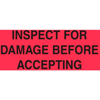 "Inspect For Damage Before Accepting 3"" x 5"" - Fluorescent Red / Black"