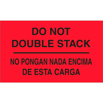 """Do Not Double Stack- Bilingual 3"""" x 5"""" - Fluorescent Red / Black"""