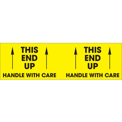 """This End Up - Handle With Care 3"""" x 10"""" - Bright Yellow / Black"""