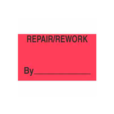 "Repair/Rework By 1-3/8"" x 2"" - Fluorescent Red / Black"