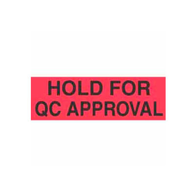 """Hold For Qc Approval 1-3/8"""" x 2"""" - Fluorescent Red / Black"""