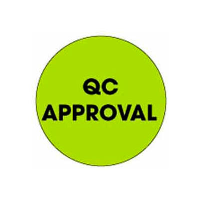 "Qc Approval 2"" Dia. - Fluorescent Green / Black"