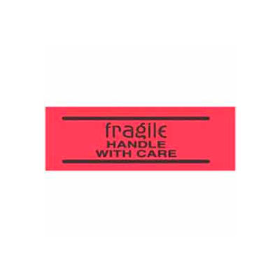 """Fragile Handle With Care 2"""" x 3"""" - Fluorescent Red / Black"""