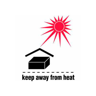 """Keep Away From Heat 3"""" x 4"""" - White / Red / Black"""