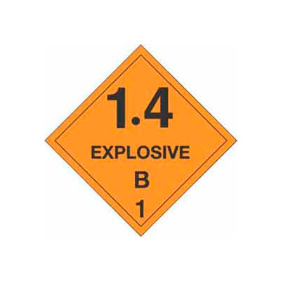 "Hazard Class 1 - 1.4 Explosive B 4"" x 4"" - Orange / Black"