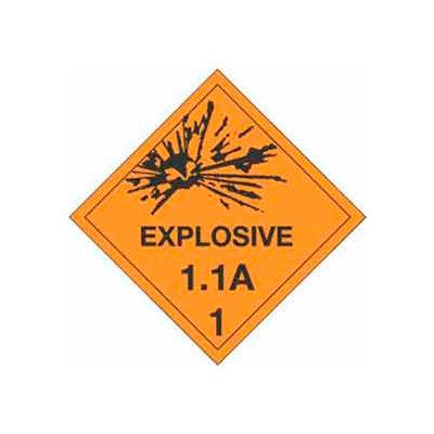 "Hazard Class 1 - Explosive 1.1A 4"" x 4"" - Orange / Black"