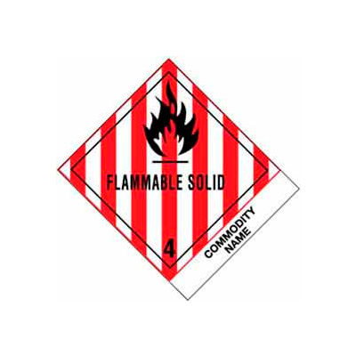 "Flammable Solid NOS 4"" x 4-3/4"" - White / Red / Black"