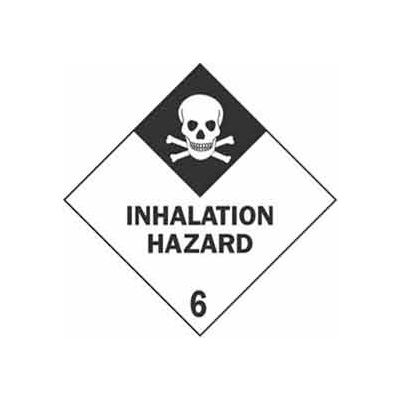 "Hazard Class 6 - Inhalation Hazard 4"" x 4"" - White / Black"